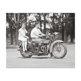 Couple Riding Motorcyle, 1928 Gallery Wrap Canvas