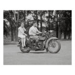 Couple Riding Motorcyle, 1928 Poster
