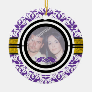 Couple's first/1st Christmas damask photo ornament