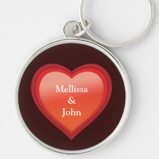 Couple´s Names Heart Silver-Colored Round Key Ring
