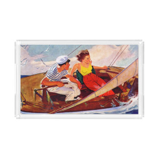 Couple Sailing by R.J. Cavaliere Acrylic Tray