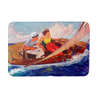 Couple Sailing by R.J. Cavaliere Bath Mat