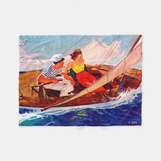 Couple Sailing by R.J. Cavaliere Fleece Blanket