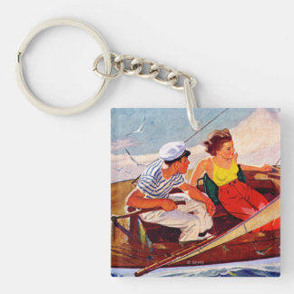 Couple Sailing by R.J. Cavaliere Key Ring