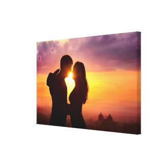 Couple Silhouette At Sunset Gallery Wrap Canvas