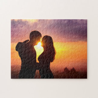 Couple Silhouette At Sunset Puzzle