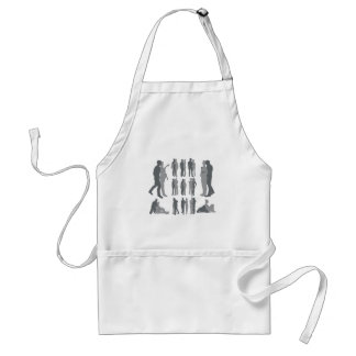 Couple silhouettes pregnant woman aprons