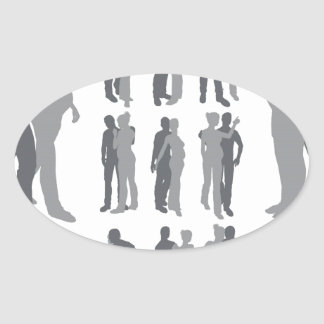 Couple silhouettes pregnant woman oval stickers