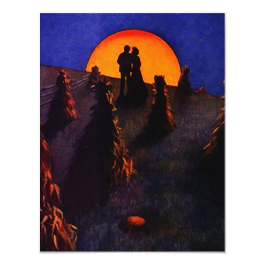 COUPLE SILHOUTTED IN HARVEST MOON INVITATION! CARD