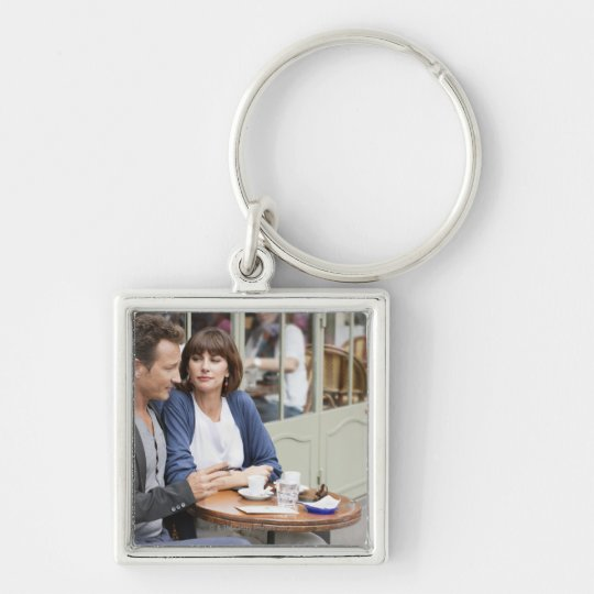 Couple sitting in a restaurant, Paris, 2 Silver-Colored Square Key Ring