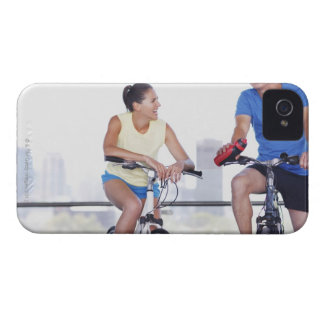 Couple sitting on bicycles iPhone 4 Case-Mate cases
