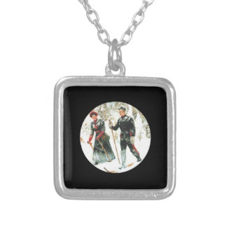 Couple Skiing Cross Country Square Pendant Necklace