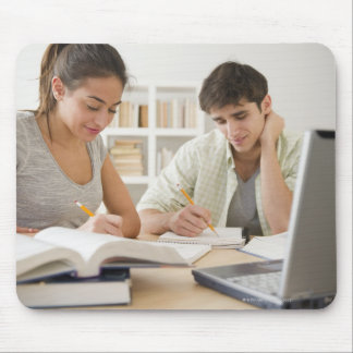 Couple studying together mouse pad