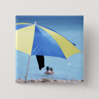 Couple Swimming, South Miami Beach, Florida 15 Cm Square Badge