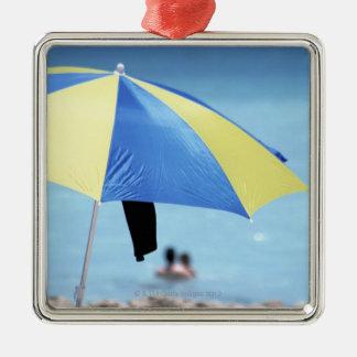 Couple Swimming, South Miami Beach, Florida Silver-Colored Square Decoration