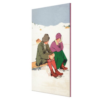 Couple Taking an Ice Skating Break Stretched Canvas Print