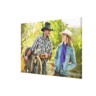 Couple talking stretched canvas prints