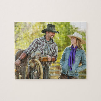 Couple talking jigsaw puzzle