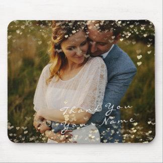 Couple Thank Favor Photo Golden Confetti Hearts Mouse Mat