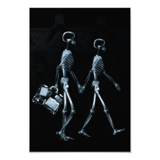 Couple Traveling X-Ray Vision Skeletons - Blue 9 Cm X 13 Cm Invitation Card