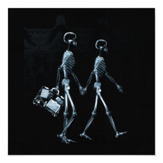 "Couple Traveling X-Ray Vision Skeletons - Blue 5.25"" Square Invitation Card"