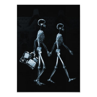 "Couple Traveling X-Ray Vision Skeletons - Blue 4.5"" X 6.25"" Invitation Card"