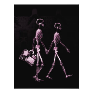 Couple Traveling X-Ray Vision Skeletons - Pink 21.5 Cm X 28 Cm Flyer