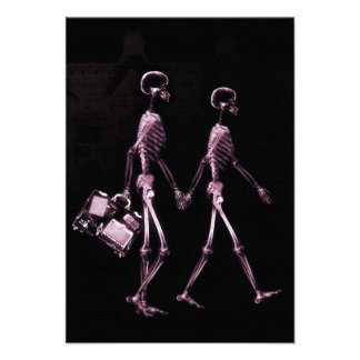 Couple Traveling X-Ray Vision Skeletons - Pink Invitation