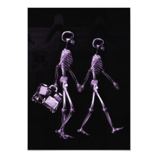 Couple Traveling X-Ray Vision Skeletons - Purple 11 Cm X 16 Cm Invitation Card