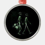 Couple Travelling X-Ray Vision Skeletons - Green Ornament