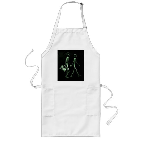 Couple Travelling X-Ray Vision Skeletons - Green Long Apron