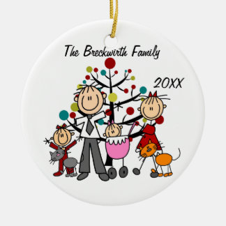 Couple, Two Girls, Two Cats Holiday Ornament