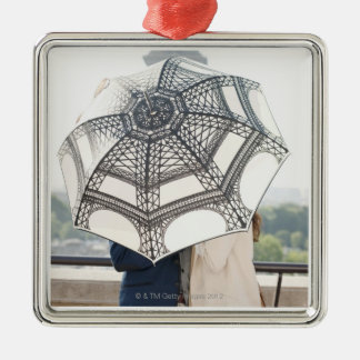 Couple under an umbrella with the Eiffel Tower Silver-Colored Square Decoration