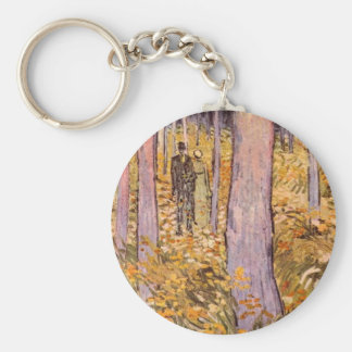 Couple walk in the woods by Vincent van Gogh Keychain