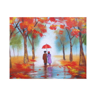 Couple walking in a forest autumn rainy day canvas prints