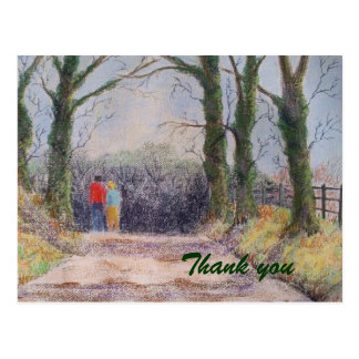 Couple walking in country lane, postcard
