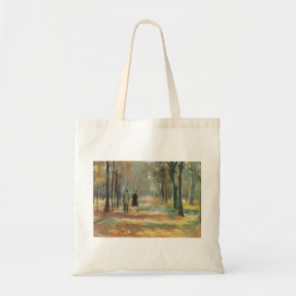 Couple walking in the woods by Lesser Ury Canvas Bags