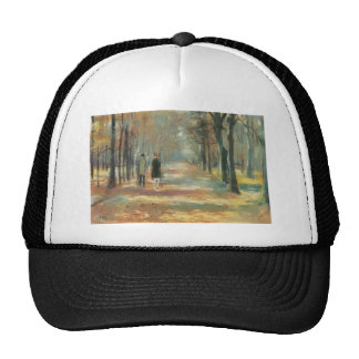 Couple walking in the woods by Lesser Ury Cap