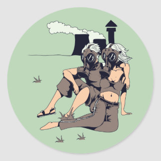 couple wearing gas maskes round sticker