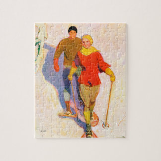 Couple Wearing Snowshoes by McClelland Barclay Jigsaw Puzzle