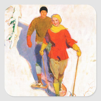 Couple Wearing Snowshoes by McClelland Barclay Square Sticker