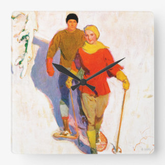 Couple Wearing Snowshoes by McClelland Barclay Wallclock