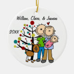 Couple With Baby Girl and Dog Custom Ornament