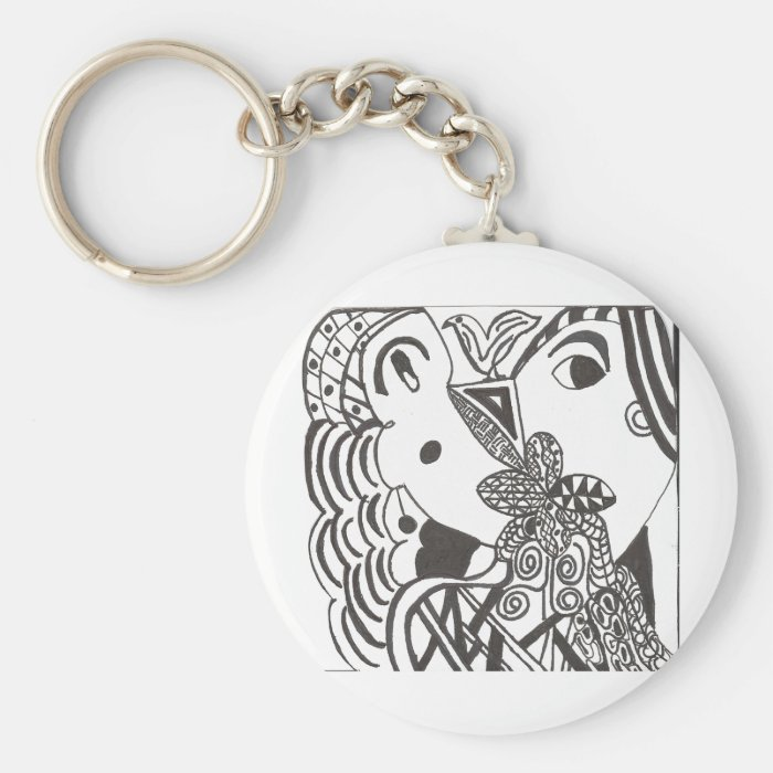 couple with bird basic round button key ring