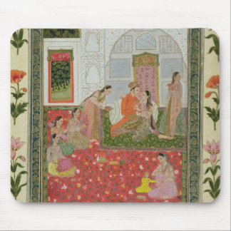 Couple with female attendants and musicians mouse mat