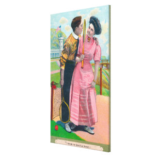 Couple with Tennis GearSame Old Racket Stretched Canvas Print