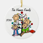 Couple With Two Girls Custom Holiday Ornament