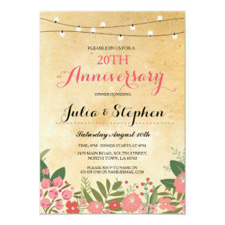 Couples Anniversary Dinner Coral Wedding Invite