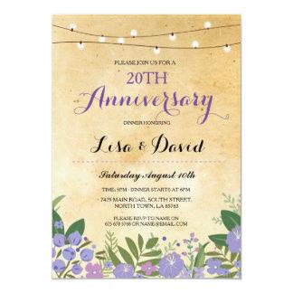 Couples Anniversary Dinner Purple Wedding Invite