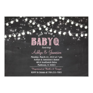 Couples BabyQ BBQ Baby Shower LightsInvitation Card